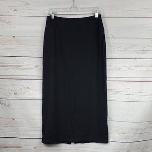 J Jill Wearever solid black maxi skirt w/ slit